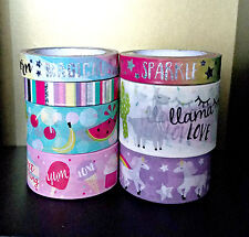 7 Pc. Unicorns, Llama Love, Ice Cream, Watermelon, Stripes, Washi Tapes