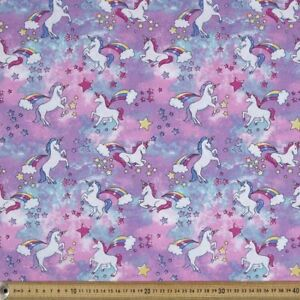 Unicorn-Glitter-Poplin-Pink-amp-Purple-Fabric-100-Cotton-Half-Yard-45cm-x-110cm