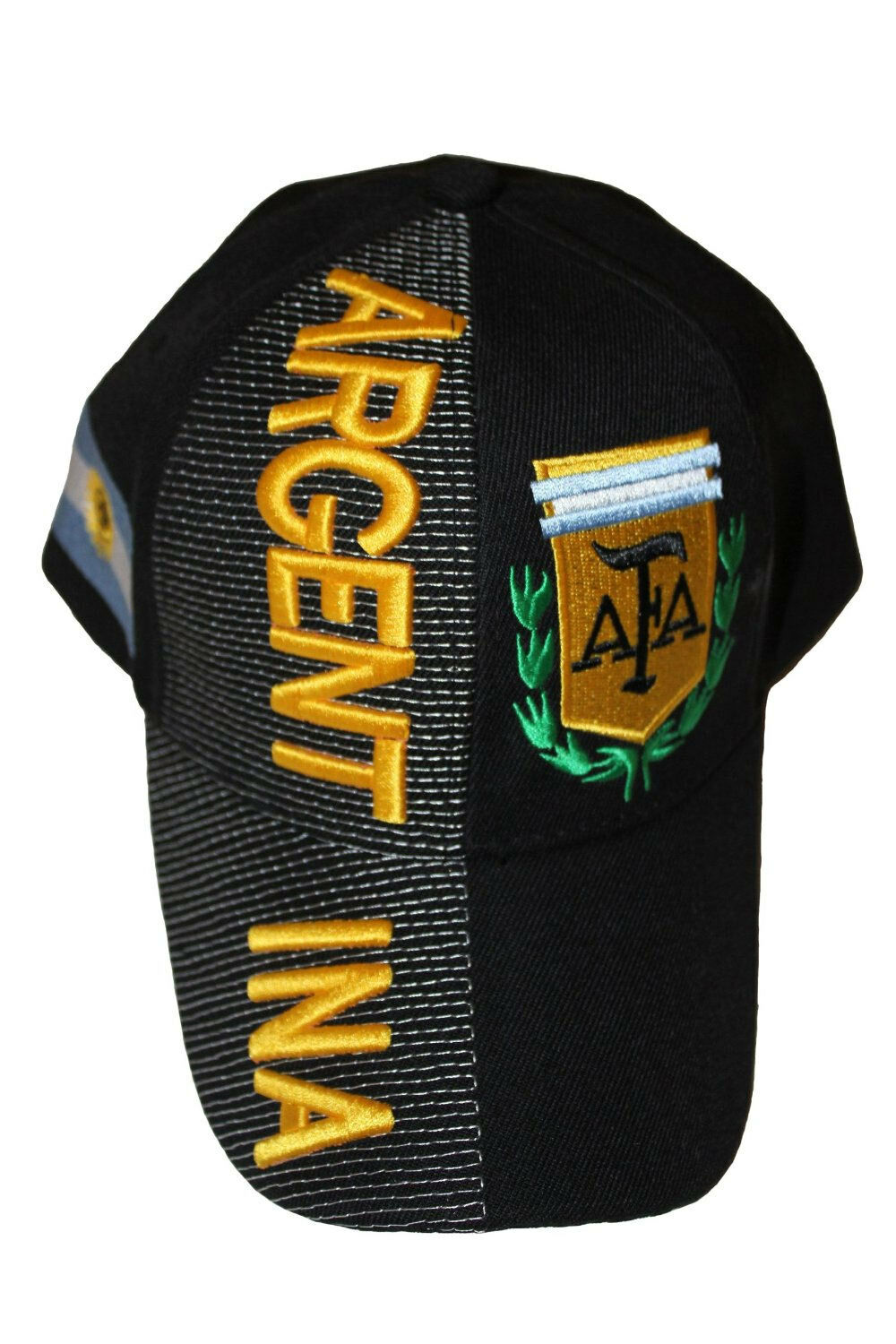 ARGENTINA BLACK COUNTRY FLAG AFA LOGO FIFA WORLD .. CUP EMBOSSED HAT CAP .. WORLD NEW 5bb362