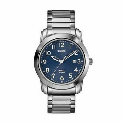 Timex T2P132 Men's Silver Analog Watch With Blue Dial