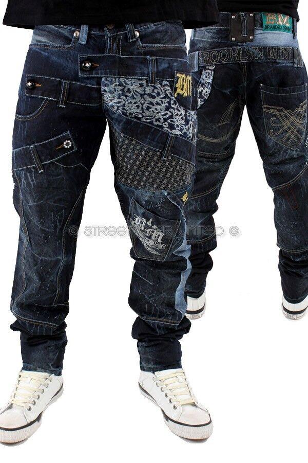 Brooklyn Mint Zigzag Wet Denim Jeans