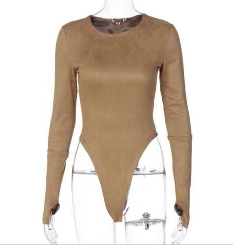 Woman Long Sleeve Short Jumpsuit Solid Color O Neck Short Bodysuit 8Color S-L
