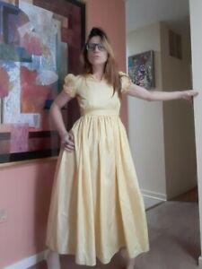 1920-039-s-Yellow-Taffeta-Art-Deco-Gown-w-Ruffles-XXS-XS