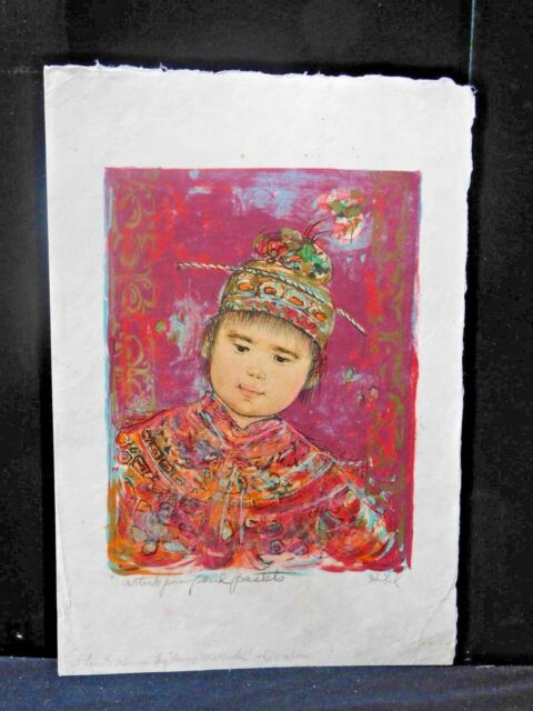 Estate Rare Signed/Numbered Edna Hibel Young Manchu Lithograph w/Gold Foil