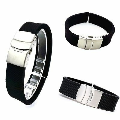 Luxury Silicone Rubber Watch Strap Band Deployment Buckle Waterproof 20 22 24mm