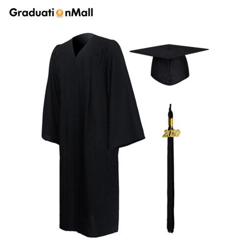GraduationMall Matte Bachelor Graduation Gown Cap Tassel Set 2020 Year Charm