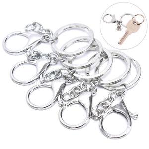 10Pcs-Big-Lobster-Clasp-Hooks-Keychain-Split-Ring-Short-Chain-Key-Ring-DIY-QA