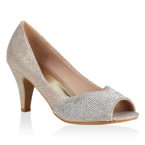 Damen Abiball Pumps Peeptoes Strass Party High Heels Stilettos 820766 Schuhe