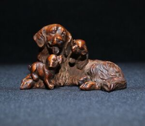 noble natural boxwood carved Lovely dog puppy statue Netsuke decor figurine