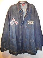 ROCAWEAR big mens blue embroidered denim jean jacket size 3XL