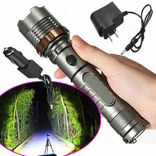 10000LM Tactical XML T6 LED Zoomable 18650 Flashlight Torch Lamp+AC/ Car Charger