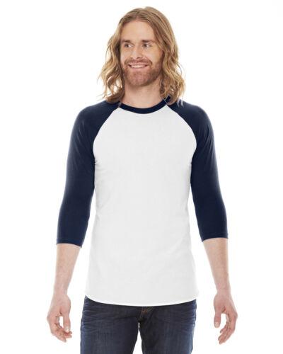 Manche Raglan T-shirt American Apparel Unisexe Poly-Coton 3//4 BB453