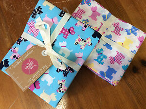 Fantastic-Bundle-Of-6-Craft-FQ-In-100-Cotton-Scottie-Dog-design-in-blue-amp-pink