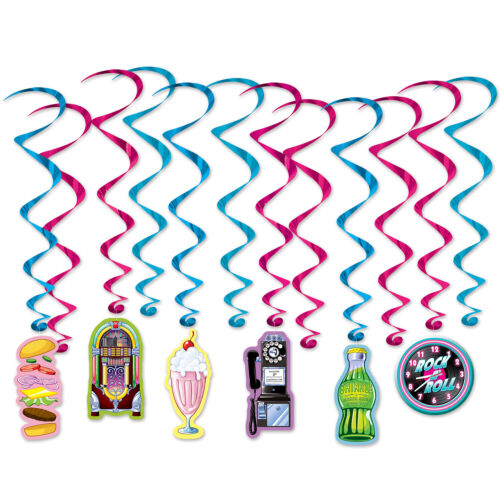 1950s 50s Sock Hop Grease Party Decoration Hanging SODA SHOP Icon WHIRLS