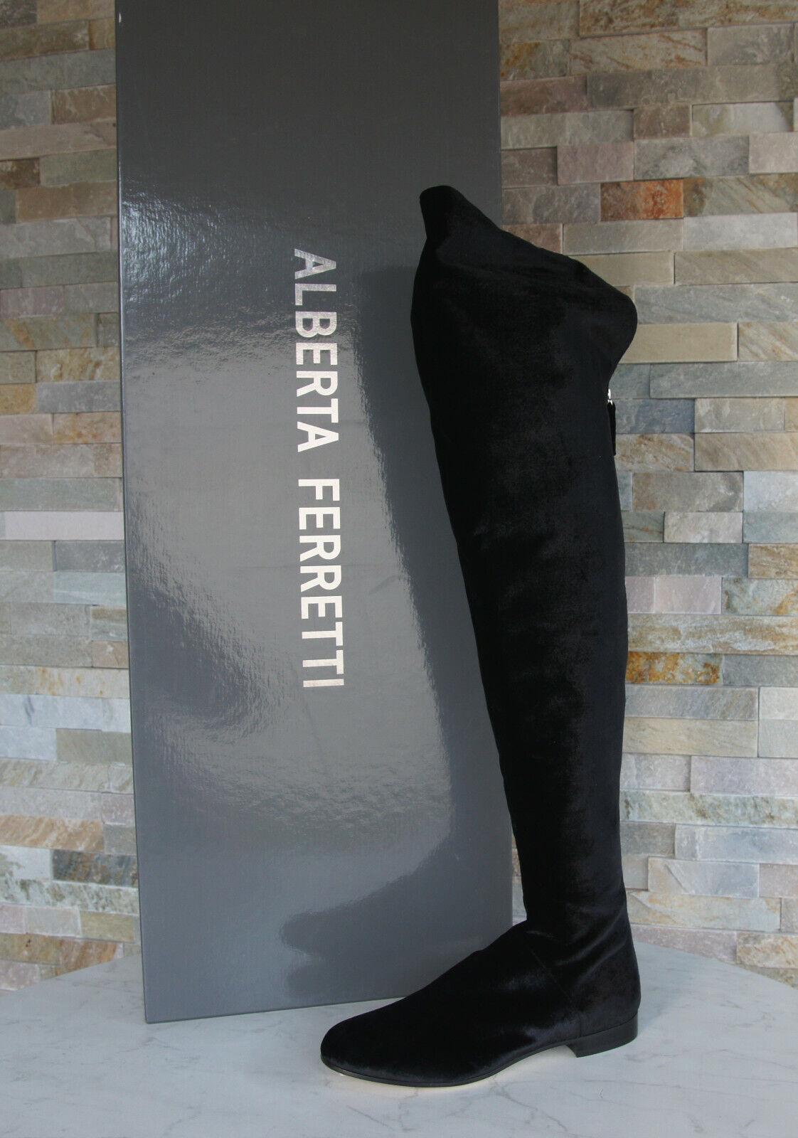 ALBERTA FERRETTI Gr 39 Stiefel Overknees Schuhe Samt schwarz NEU ehem.