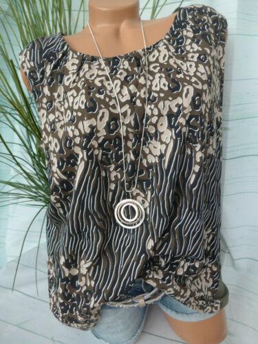 Sheego Femmes Shirt Top Chemisier Blusentop taille 46 à 50 Olive argile avec motif 161