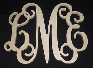 12 monogram personalized letters unpainted wooden wall for Party wall act letter to neighbour