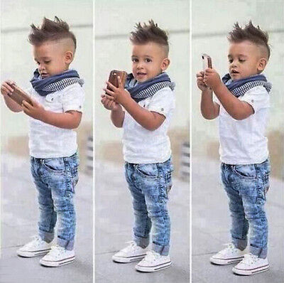 3PCS Baby Boys White T-shirt + Scarf + Denim Pants Set Kids Clothes Outfits 1-8Y