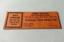 Vintage Television-Radio Review Time Show Ticket, Avon Theatre