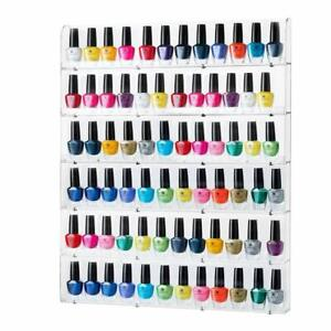 Salon-Nail-Polish-Holder-Rack-Storage-6-Rows-Wall-Mounted-Organizer-Acrylic-OPI