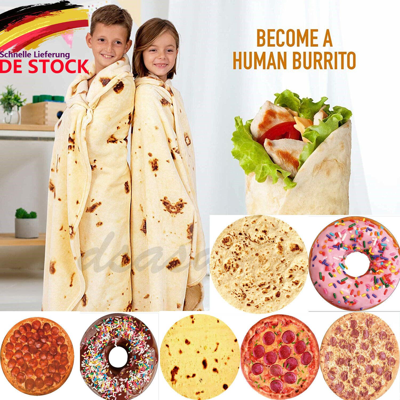 Burrito Decke Runde Tortilla Kuscheldecke Ø120-180cm Taco Sofadecke Strandtuch