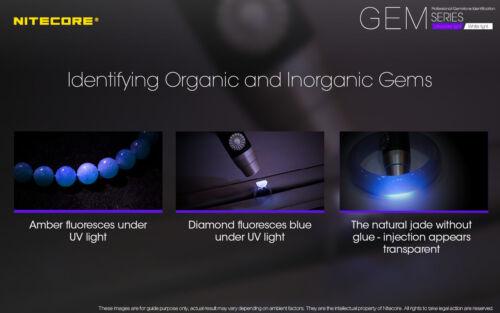A1 Chargeur Nitecore GEM10UV Gem identification Lampe torche avec NL183 Battery
