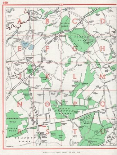 Pre-A3 1964 old map Ripley West Clandon Burntcommon Send Marsh SURREY