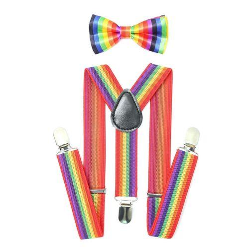 GAY PRIDE Rainbow Suspender /& Bow Tie RAINBOW BRACES /& BOW TIE Fancy Dress Party