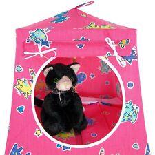 Pink, kitty print Toy Pop Up Stuffed Animal House, 2 Sleeping Bags, handmade