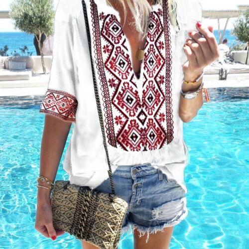 Damen Boho T-Shirt Sommer V-Ausschnitt Hippie Blusen Strand Tops Freizeit Tunika