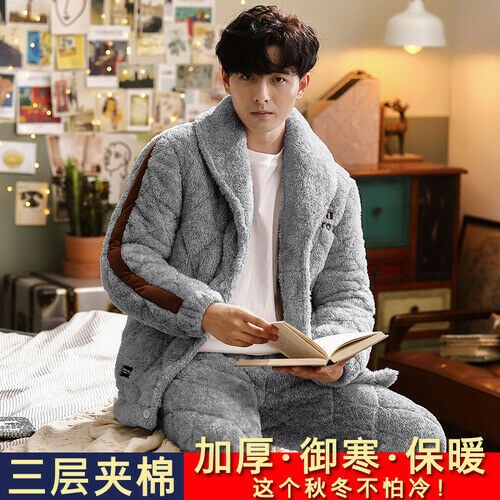 Details about  /2021 Men/'s pajamas winter thick coral fleece three-layer quilted warm clothing