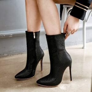 Women-Pointed-Toe-Ankle-Boots-Slim-High-Heel-Shoes-Stilettos-Boots-Size-uk2-5-11