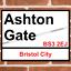 ASHTON GATE Bristol City Football Ground Stadium Metal Street Sign Tin Signs UK