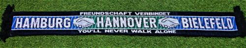 """NEU Hamburg Hannover Bielefeld Schal /""""FREUNDSCHAFT VERBINDET/"""" Fan Kurve"""