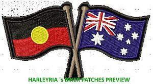 AUSTRALIA-ABORIGINAL-CROSSED-FLAGS-BIKER-PATCH-100-X-55MM
