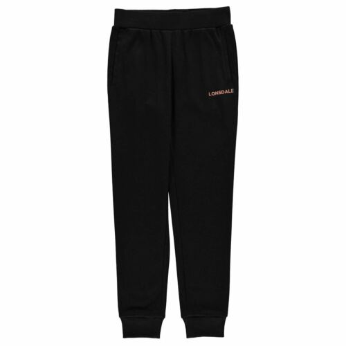 Lonsdale Girls Jogging Bottoms Soft Elasticated Waistband Ribbed Ankle Cuffs
