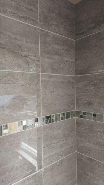 10-30m2 New Parallel Travertine Effect Dark Grey Bathroom Wall Tile Deal 25 x 50