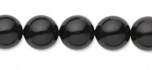 8 Mystic Black Swarovski Crystal 5810 Pearl Round Beads 10MM