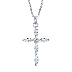 High Quality Marcasite Gemstone CZ Clear Diamond 925 Sterling Silver Cross Pendant Necklace Eye Catching Sterling Silver Necklace Love Gift