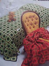 Crochet Pattern Bedspread Throw Afghan Rug DK Wool Vintage