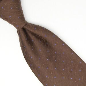 Manolo-Costa-Mens-Shantung-Silk-Necktie-Brown-Blue-Pindot-Pin-Dot-Tie-Italy