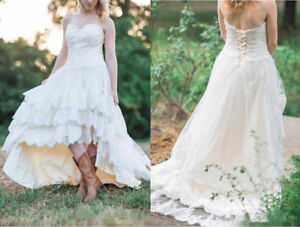 Western Wedding Dresses.Details About Hi Low Boho Short Wedding Dress Lace Formal Bridal Gown Western Country Wedding