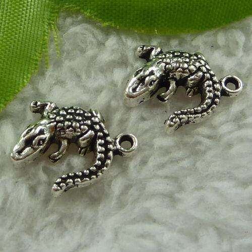 Free Ship 240 pieces tibet silver lizard charms 15x14mm #2577