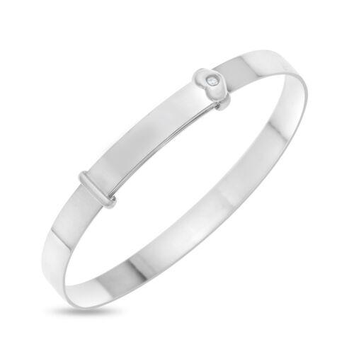 Silver Baby/'s First Diamond Bracelet Bangle Girl Shower Baptism Christening gift
