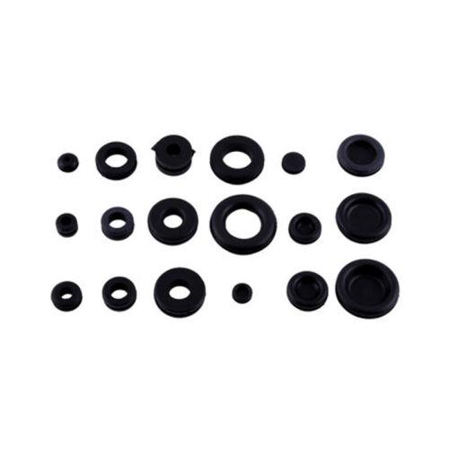 125PCS Black Rubber Grommet Assortment Firewall Hole Plug Electrical Wire Gasket