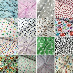 Polycotton-Fabric-Flamingos-Unicorns-Ladybirds-Dog-Cat-Rabbit-Panda-Bird-Animals