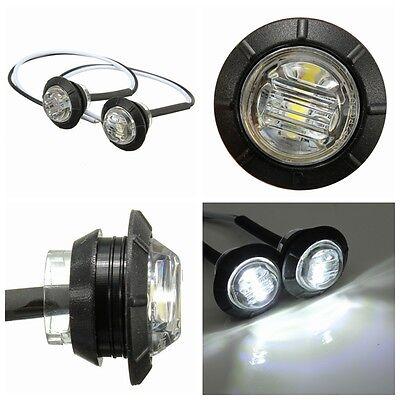 2x 12v  White LED Side Marker Light Indicator Lamp Truck Trailer Caravan Lorry