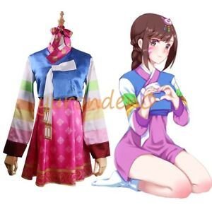 Overwatch D.Va Hana Song Year of Rooster Cosplay Costume Kimono Suit Outfit Wig