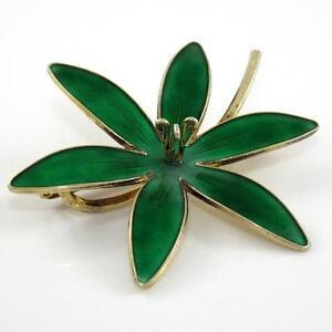 Vtg-Hroar-Prydz-Norway-Sterling-Silver-Large-Green-Enamel-Flower-Pin-Brooch