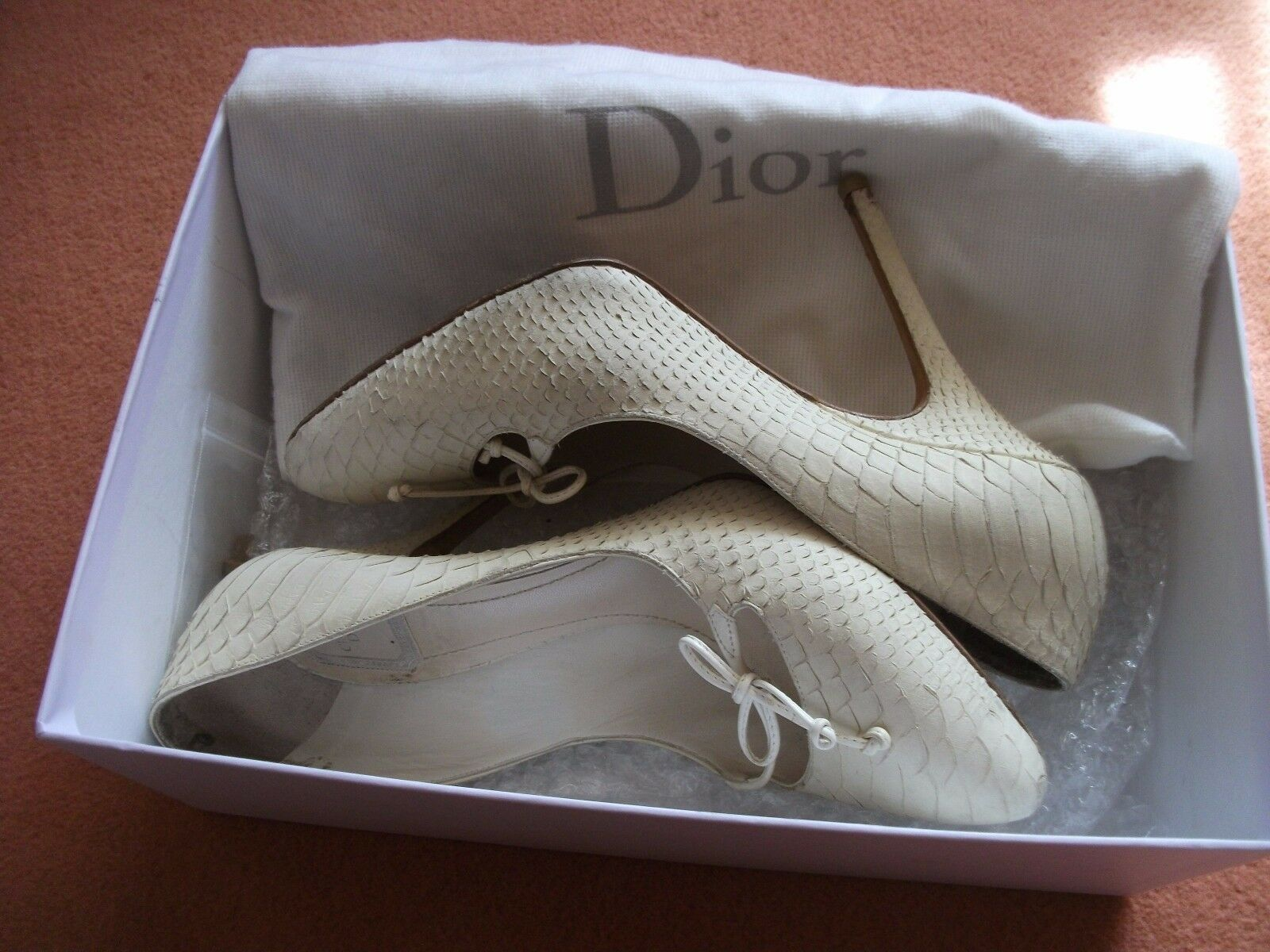 Christian Dior stunning runway shoes size 5.5, cream, snake skin,  when new.